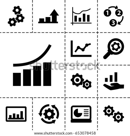 Progress icon. set of 13 filled progressicons such as graph, chart, gear, 1 2 3, chart on display, graph on hand, gear    sign symb