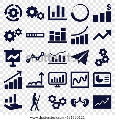 Progress icons set. set of 25 progress filled icons such as graph, gear, kidney, chart, line graph, paper plane, chart on display, caveman, money chart, gear rotate