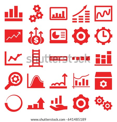 Progress icons set. set of 25 progress filled icons such as ladder, gear, graph, chart, clock in gear, line graph, chart on display, graph on hand, gear    sign symb, money up