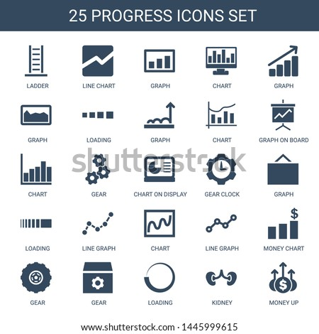 progress icons. Trendy 25 progress icons. Contain icons such as ladder, line chart, graph, chart, loading, graph on board, gear, chart on display. progress icon for web and mobile.