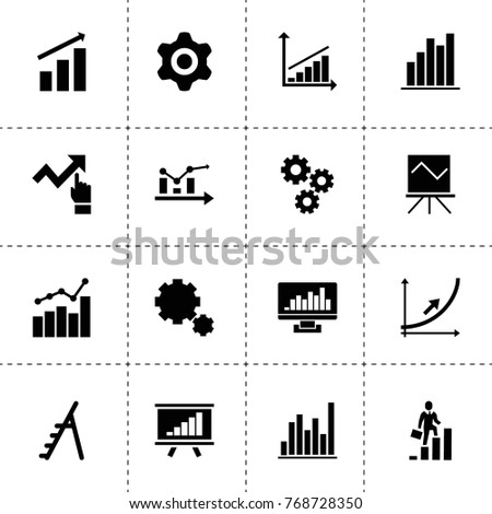 Progress icons. vector collection filled progress icons. includes symbols such as gear, chart graph, graph chart, diagram, ladder. use for web, mobile and ui design.