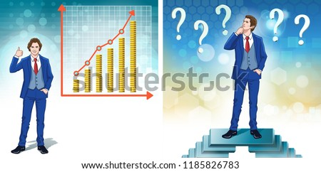 Progress in business. Statistics graph for money cash. Business question marks. Banking concept. Color cartoon clipart characters. Vector illustration.
