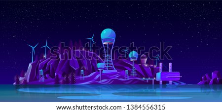 Progress in electricity generating industry, energy alternative sources, sustainable and ecological power plants cartoon vector. Tesla tower, wind turbine, hydroelectric power station illustration