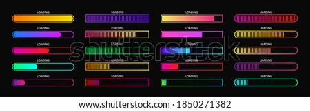Progress load bar. Indicator of status download. Graphic icons of interface. Neon buttons of speed of upload. Color set of web loaders with percent. Futuristic UI for website, game, internet. Vector.