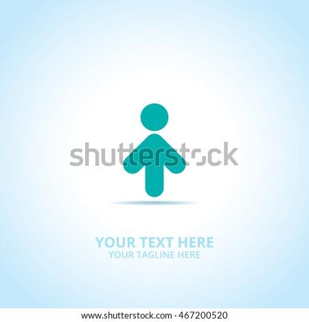 Progress Man abstract emblem, design concept, logo, logotype element for template.