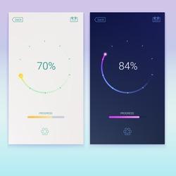 Progress of loading for mobile apps or web preloader on light and dark screen. Load, update or download diagram icon of progress bar, minimal flat design with percentage of progress, 3D illustration.