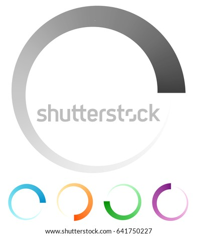 Progress, process indicator with 4 step. Progress bar, preloader (buffer) symbol. Gray plus 4 color circular loading symbol for presentations, infographics or interfaces