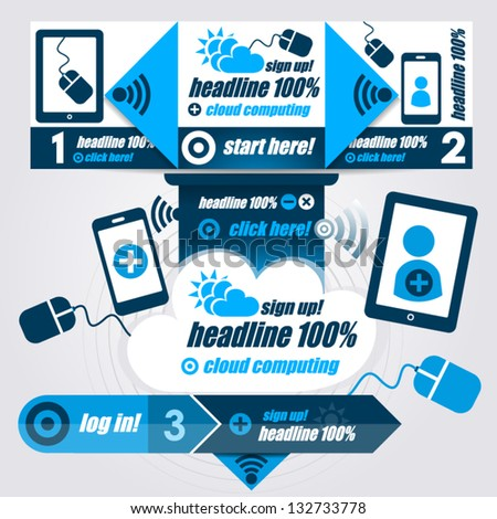 Progress Steps, Design Template for Infographics and Web