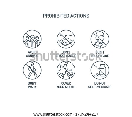 prohibited actions Coronavirus line icons set poster isolated on white. Perfect outline symbols prevention Covid 19 pandemic banner. Quality design elements handshake, crowd, walk with editable Stroke
