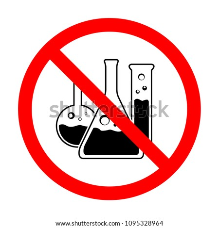Prohibited flask vector symbol. Illustration of an isolated forbidden sign with a chemical flask tube vector icon sign. Do not use toxic chemical flask vector flat icon. Not allowed flask tube icon