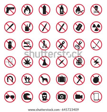 prohibited item icon set