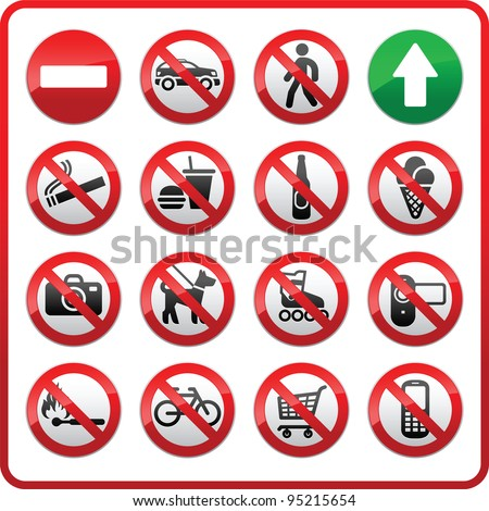 Prohibited set symbols. Forbidden sign collection. Sticker for supermarkets and shopping center - stock vector