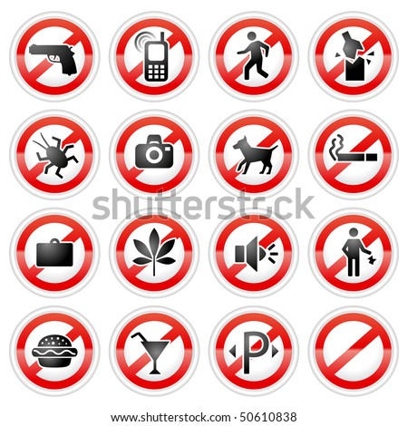 prohibited signs set