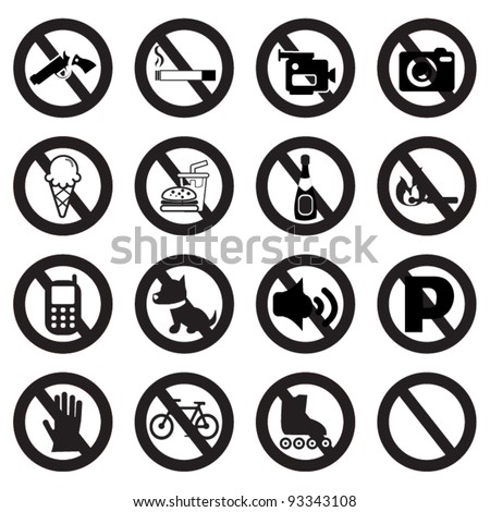 Prohibited Signs  silhouettes