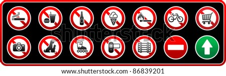 prohibited signs sticker for