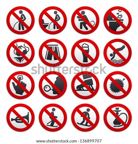 Prohibited signs, vector illustration