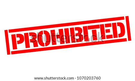 Prohibited typographic stamp, sign, label. Black and red series