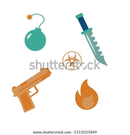 prohibited weapons icon set