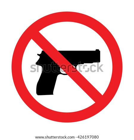 prohibiting sign for gun no