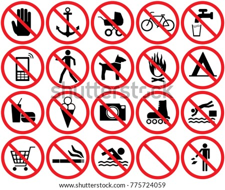 Prohibition And Restriction 20 Signs Set. Vector.