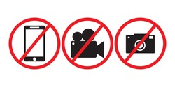 Prohibition  no camera, no mobile phone and no video recording signboard  on white background.vector