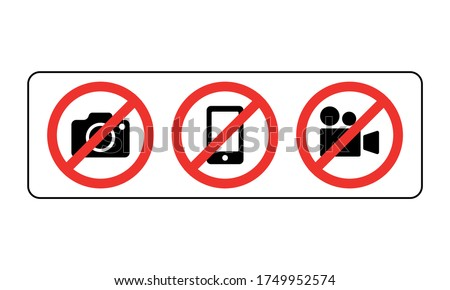 Prohibition sign no camera, no mobile phone and no video recording signboard vector illustration on white background Foto d'archivio ©