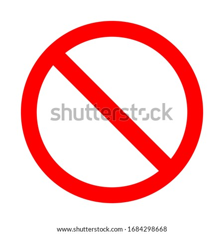 prohibition sign. red prohibited symbol isolated on white background. vector illustration Foto stock ©