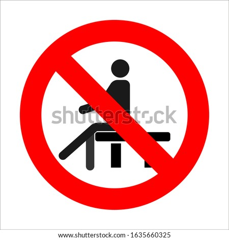 prohibition sign sits down, no sitting, sit on the surface, vector image