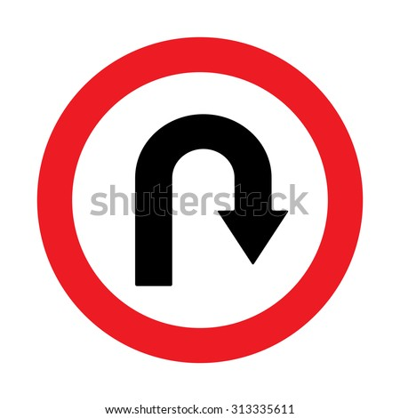Prohibition Sign U-turn . Vector illustrations