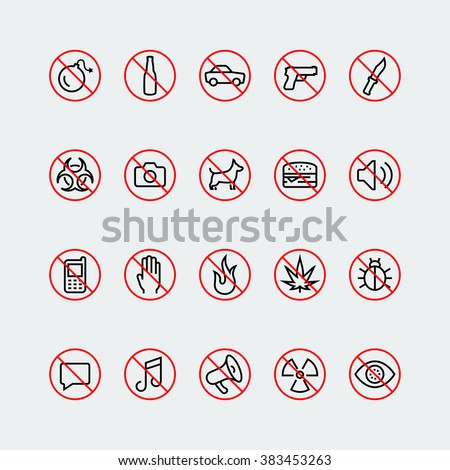 prohibition signs and icons in