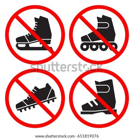 prohibition signs set no ice
