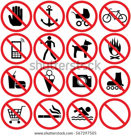 Prohibition Signs Set. Vector.