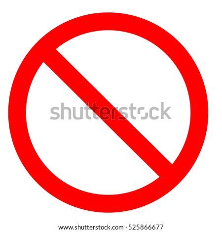 Prohibition symbol. Prohibition Sign. Prohibition icon isolated on white background.