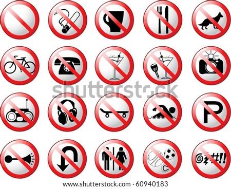 Prohibition Symbols 2 - stock vector