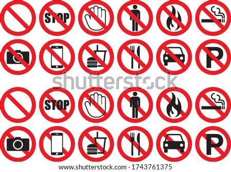 Prohibition warning icon illustration collection Сток-фото ©