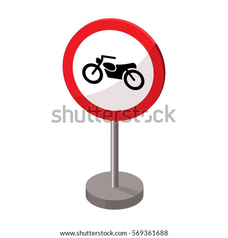 Prohibitory road sign icon in cartoon style isolated on white background. Road signs symbol stock vector illustration.