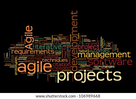 Project and management concept in word tag