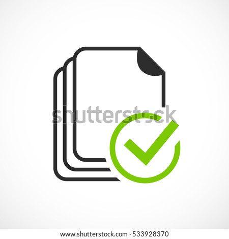 Project completed vector icon on white background. Task done vector icon. Signed approved document icon.