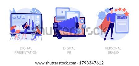 Project development, online advertisement, branding, successful startup. Digital presentation, digital PR, personal brand metaphors. Vector isolated concept metaphor illustrations. Foto stock ©