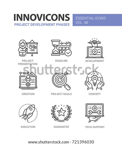 Project Development Phases - modern essential vector line design icons set. Presentation, deadline, hourglass, time, chart, person, laptop, creation, goal, concept, execution, guarantee, tech support