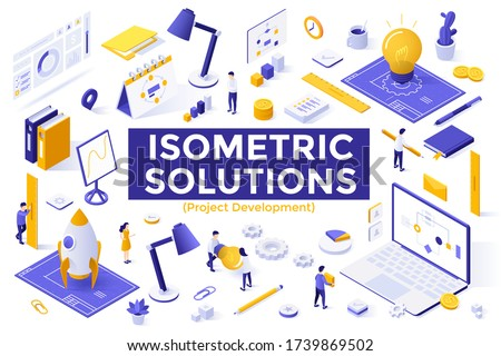 Project development set - people preparing for startup launch, rocket, blueprints, lightbulbs, diagrams. Bundle of isometric design elements isolated on white background. Modern vector illustration.