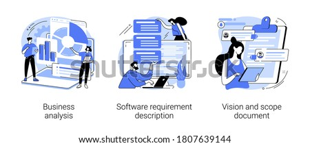 Project development specifications abstract concept vector illustration set. Business analysis, software requirement description, vision and scope document, SWOT analysis, user case abstract metaphor.