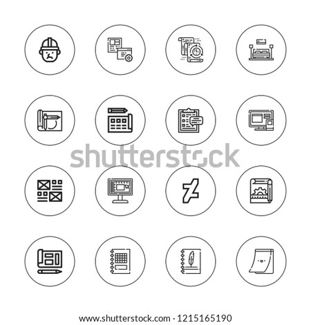 Project icon set. collection of 16 outline project icons with architect, clipboard, blueprint, design, deviantart, interior design, layout, plan, sketchbook, task icons.