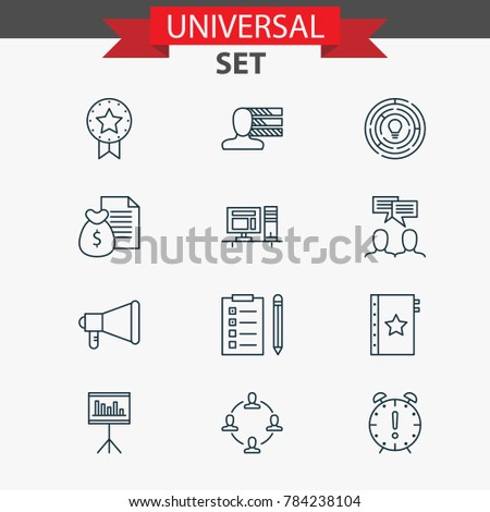 Project icons set with computer, reminder, presentation and other personal skills elements. Isolated vector illustration project icons.