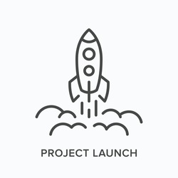 Project launch line icon. Vector outline illustration of starting up rocket. Business startup pictorgam