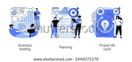 Project management abstract concept vector illustration set. Business briefing, planning project life cycle, task assignment, business case, financial data report, risk management abstract metaphor.