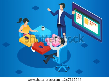 Project management and financial report strategy. Consulting team. Collaboration concept with collaborative people. Isometric business analysis planning. Flat isometric characters vector illustration.