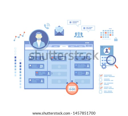 Project Management, Application Service for corporate managing, Team control, Manager, Effective distribution of tasks, Planning, Organization, Planner. Vector illustration on white background
