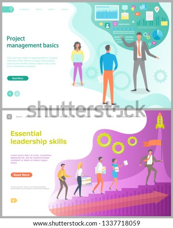 Project management basics, essential leadership skills, teamwork researching process, growing of company, presentation analysis, rising step. Website page template, landing web flat style vector