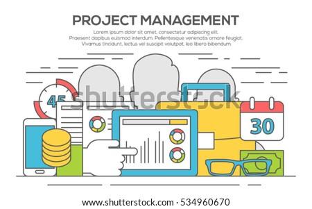 Project management business concept. Concept of project management, organizing, controlling company resources, risks.